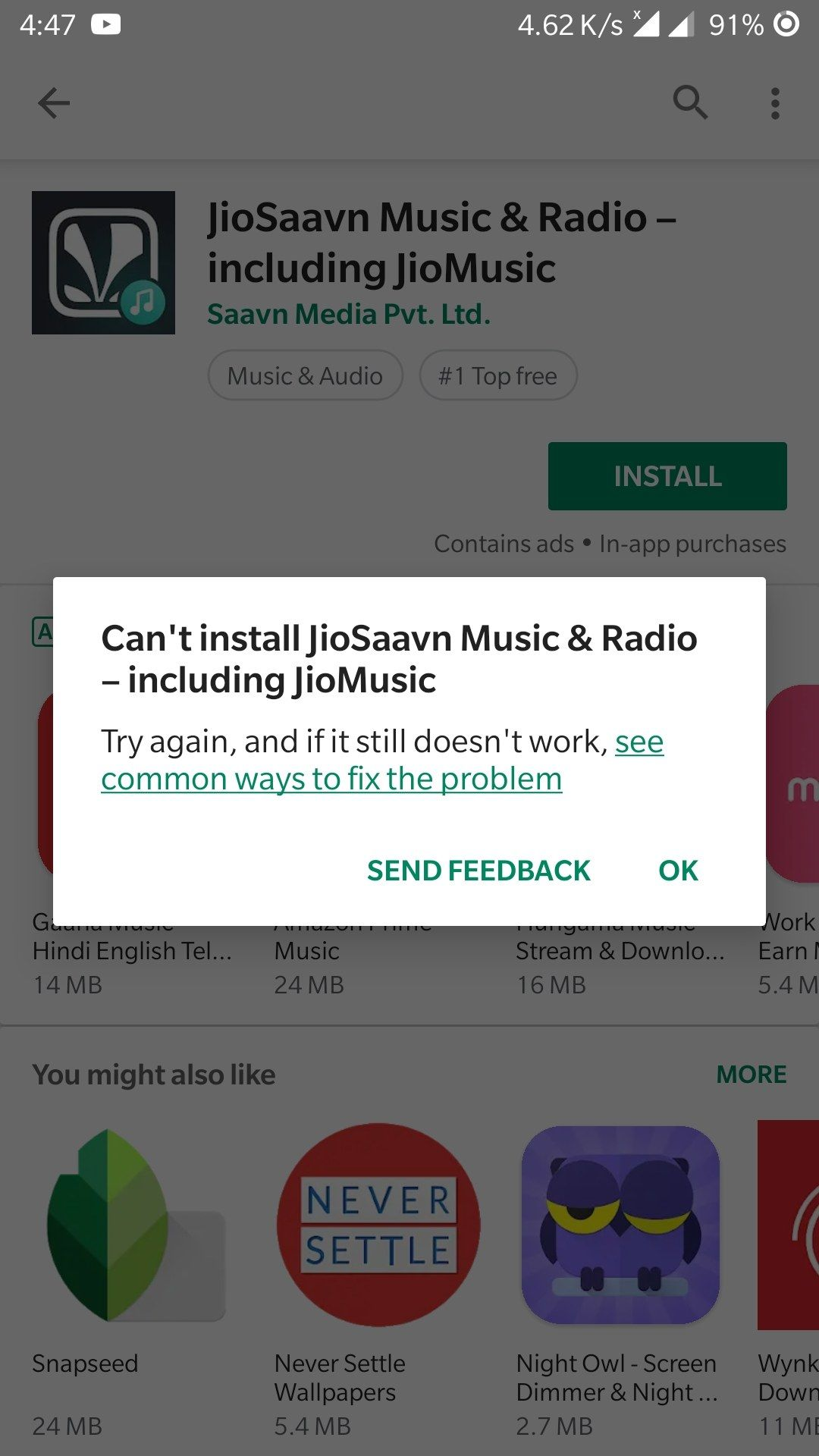 cant install apk app not installed