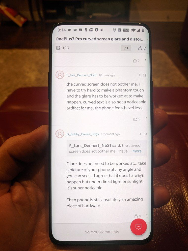 OnePlus7 Pro curved screen glare and distortion problem
