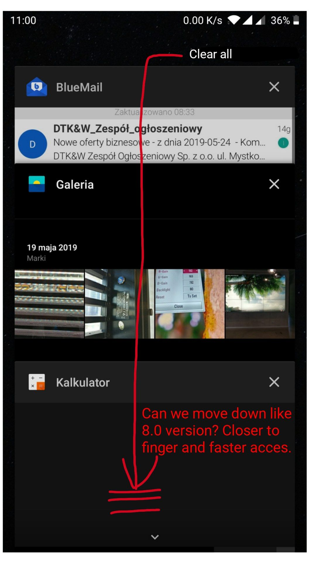 Android Pie task manager close button position - OnePlus