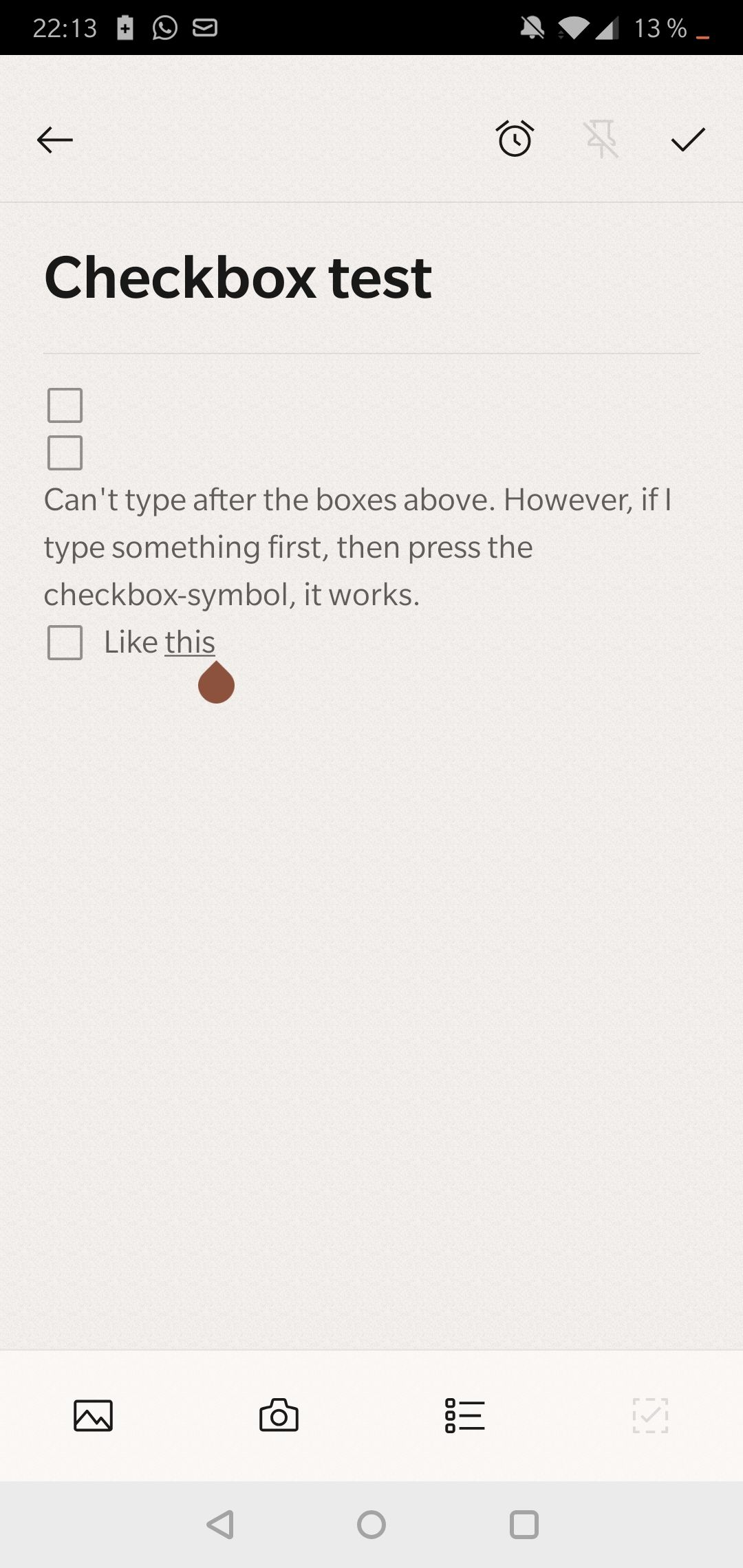 Notes checkbox bug - can't type after inserting checkbox