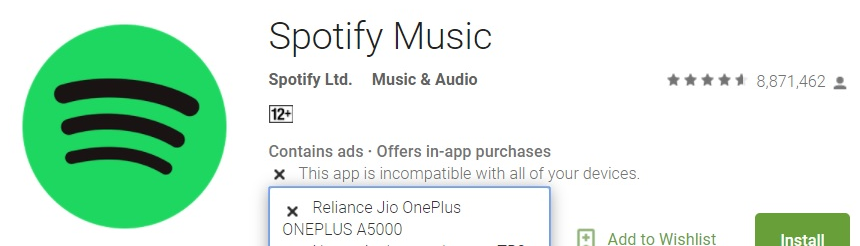 closed] Spotify App incompatible - OnePlus Community