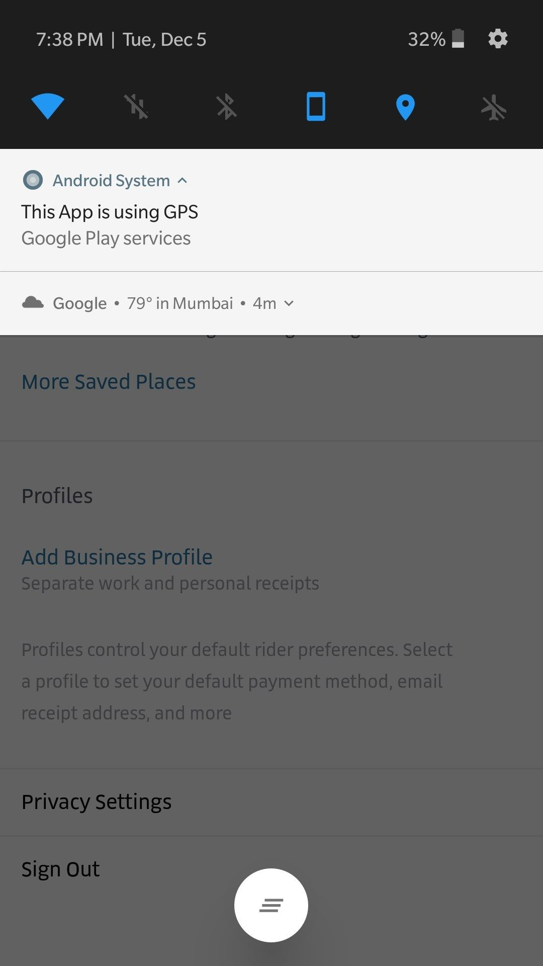 This app is using GPS - Google play services  - OnePlus