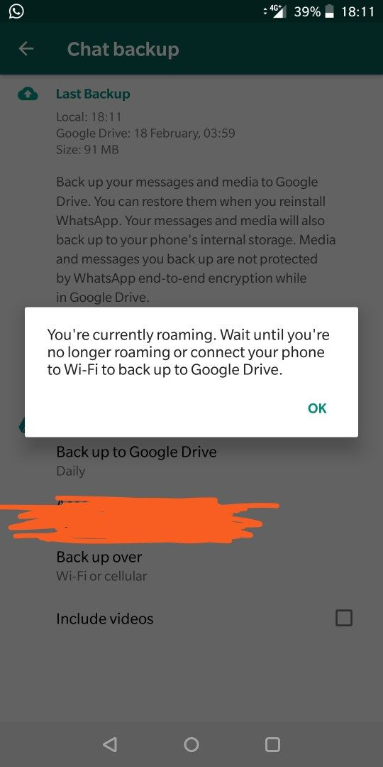 Whatsapp not backing up over mobile data/cell network - OnePlus