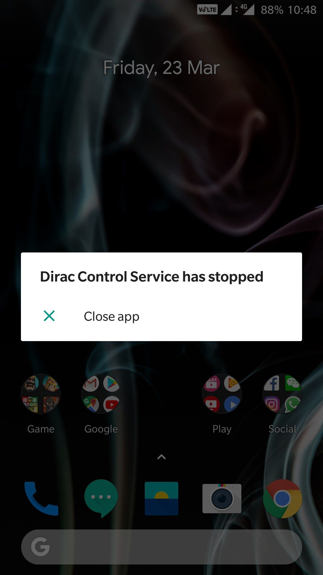 DIRAC CONTROL SERVICE HAS STOPPED - OnePlus Community
