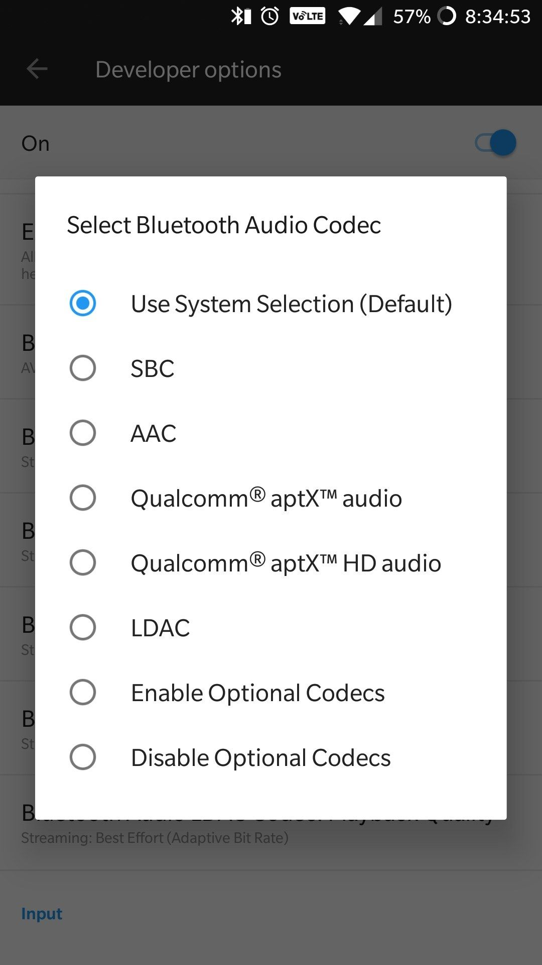 Bluetooth audio codec settings are resetting while coming out from