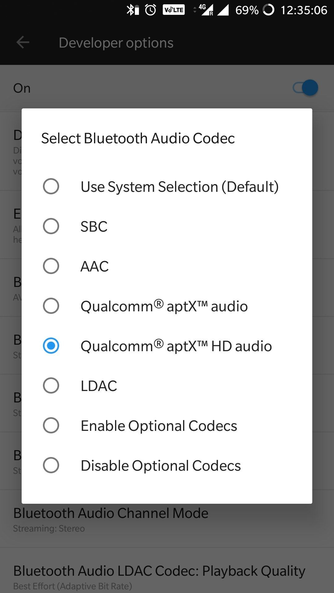 Bluetooth audio codec settings are resetting while coming