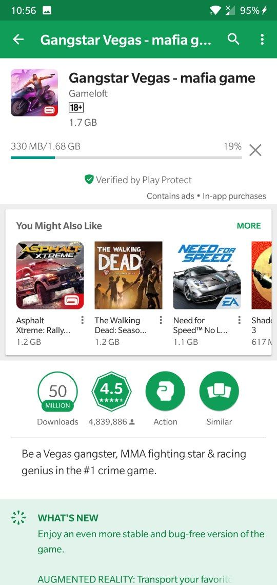 problem while download bigger games on play store only - OnePlus