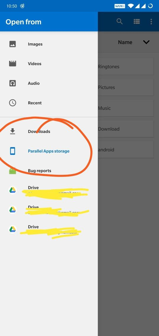 File Ecplorer missing in whatsapp selecting document (parallel apps