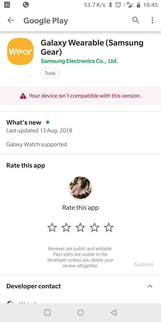 Galaxy wearables app incompatible - OnePlus Community