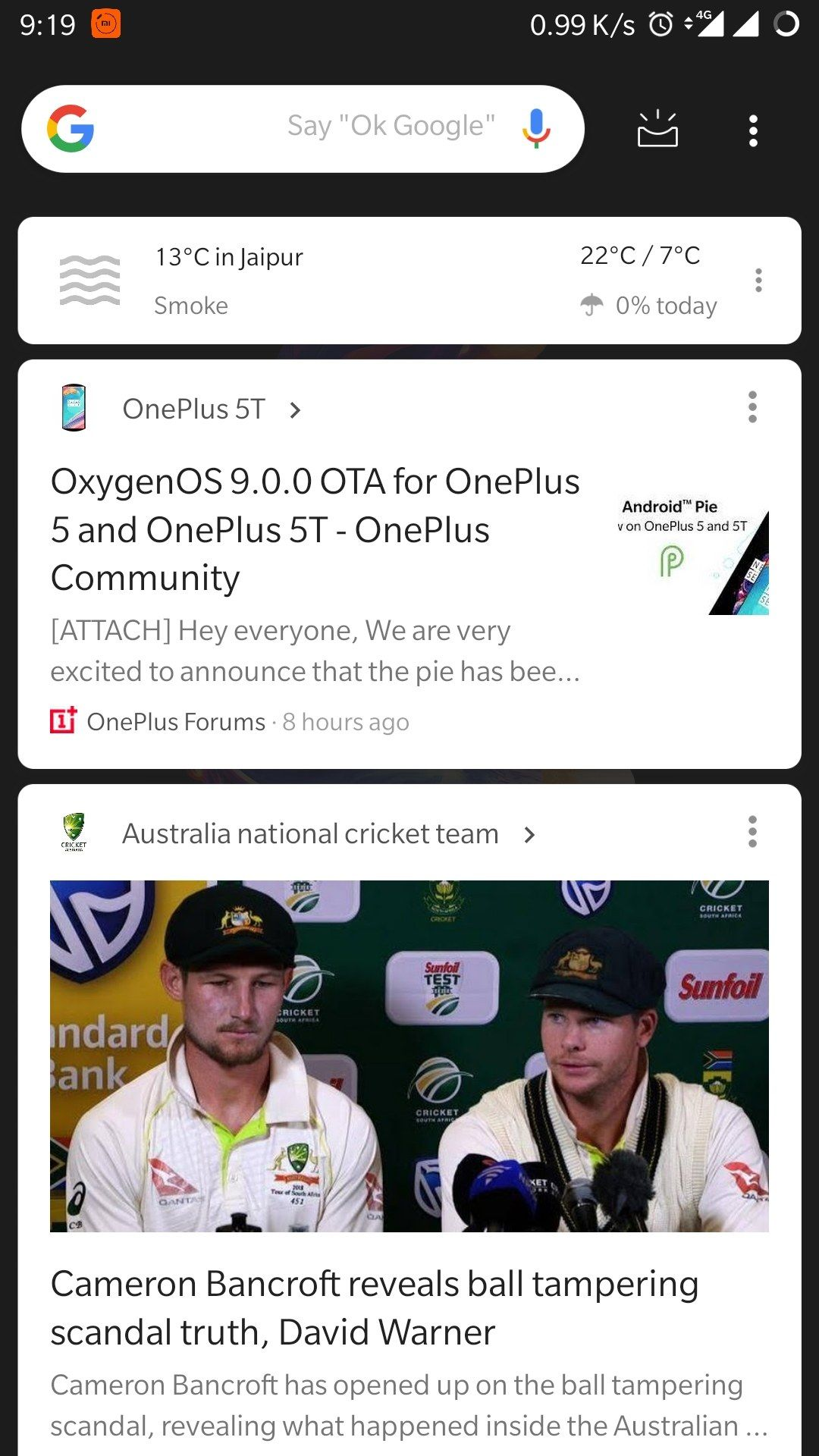 Dark google feed/discover feed on oneplus5 - OnePlus Community