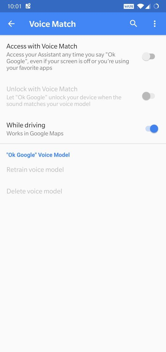 Access with voice match grayed out - okay google not recognized