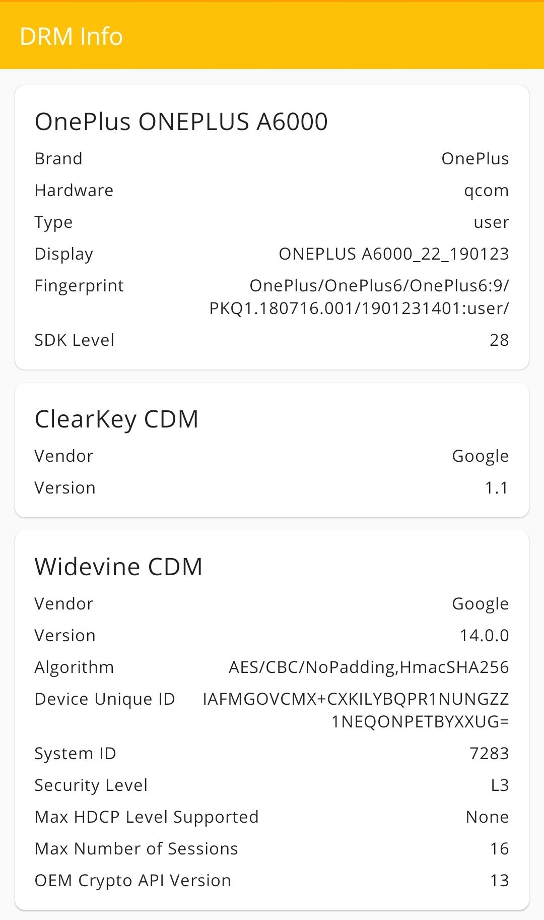 Widevine L1 not supported even on a OnePlus 6 with a locked