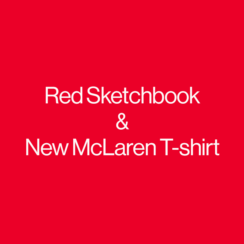 OnePlus Red Sketchbook & McLaren T-shirt